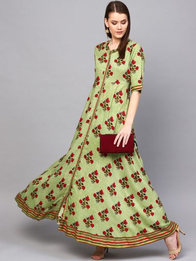 Green & Maroon Floral Printed Button Down Maxi