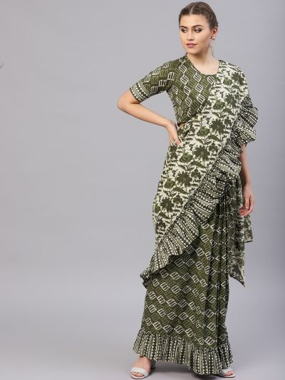 Green & Beige Printed Saree & Blouse