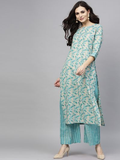 Turquoise Blue Floral Printed Straight Kurta With Palazzo Set