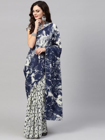 Blue & Off-white Printed Saree With Blouse