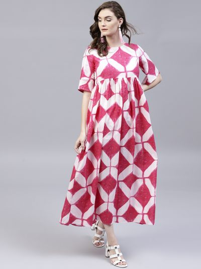 Pink & White Geometrical Printed Maxi with tussel details