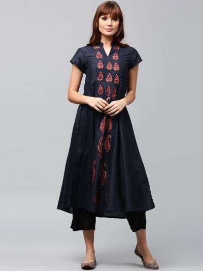 Sapphire Blue Hand Block Printed A-Line Kurta With Embroidered Details