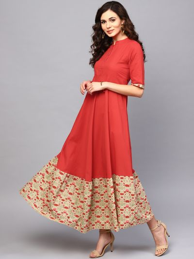 Red Solid Flared Maxi With Printed Hemline