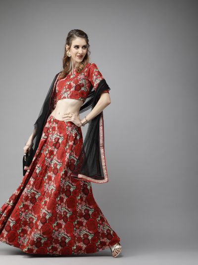 AKS Red & Green Woven Design Ready to Wear Lehenga & Blouse with Dupatta