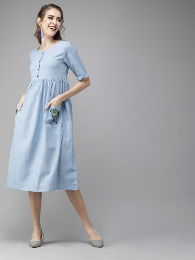AKS Women Blue Solid Fit and Flare Dress  With Embroidery