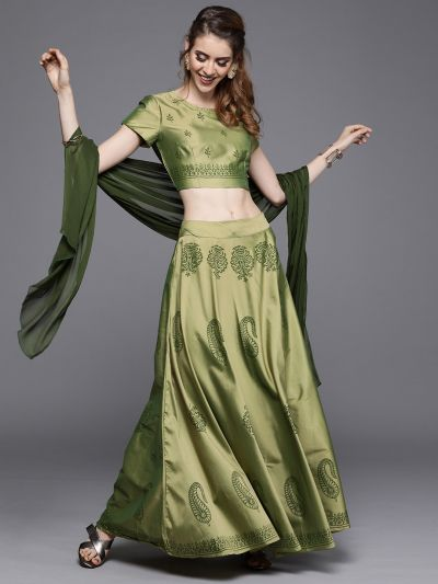 AKS Couture Olive Green Ready to Wear Lehenga & Blouse with Dupatta