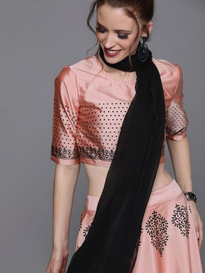 AKS Couture Pink & Black Printed Ready to Wear Lehenga & Blouse with Dupatta
