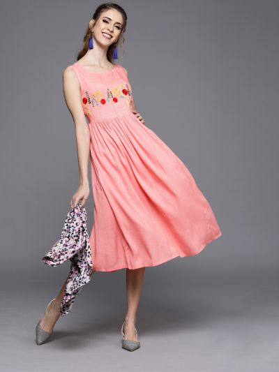 AKS Couture Women Pink Solid Fit and Flare Dress With Embroidery