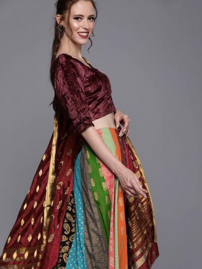 AKS Couture Multi-Coloured Woven Design Ready to Wear Lehenga & Blouse with Dupatta