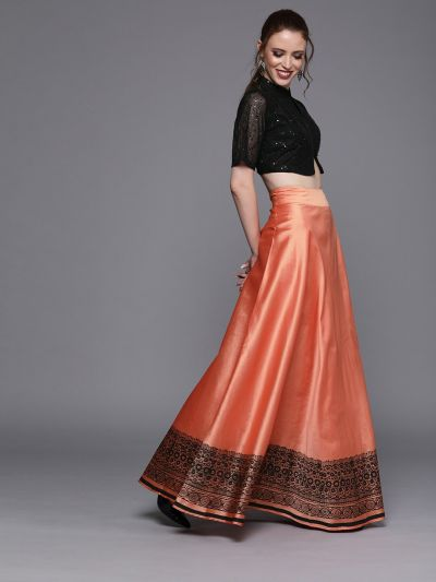 AKS Couture Coral Orange Ready to Wear Lehenga with Blouse