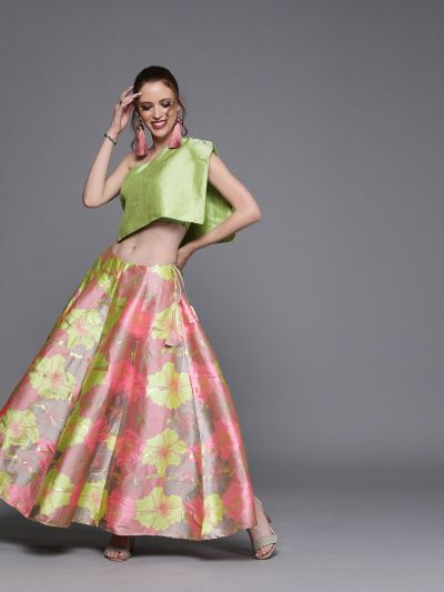 AKS Couture Pink & Green Woven Design Ready to Wear Lehenga with Blouse