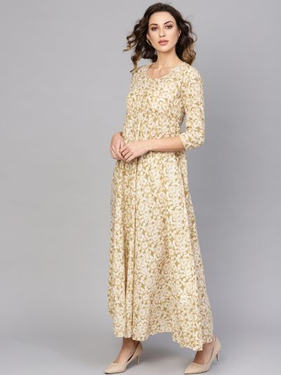 Offwhite & gold maxi with gold detail