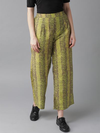 AKS Women Lime Green & Coffee Brown Snakeskin Print Cropped Straight Palazzos