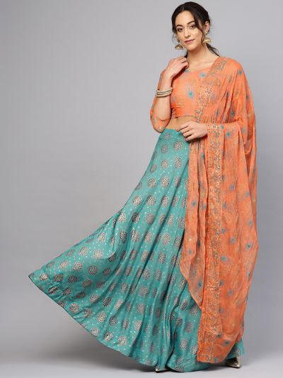 Teal Gold Blue printed Lehenga with printed blouse with dupatta