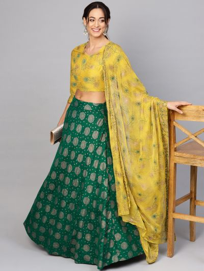 Green Gold lehenga with printed blouse with dupatta