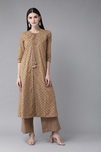 Brown & Blue Printed Layered Kurta with Palazzos