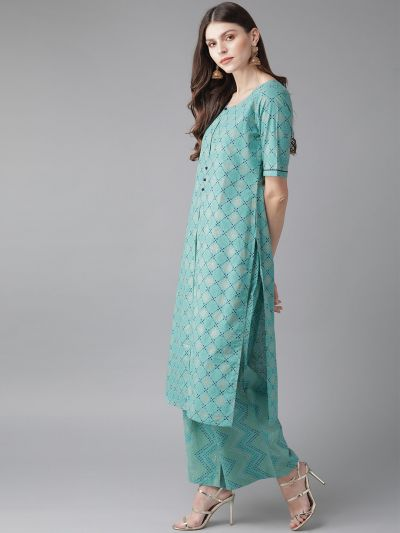 AKS Women Blue & Golden Bandhani Printed Kurta with Palazzos