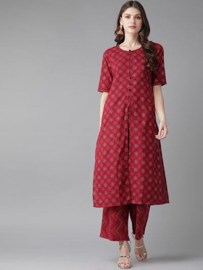 AKS Women Maroon & Golden Printed Kurta with Palazzos