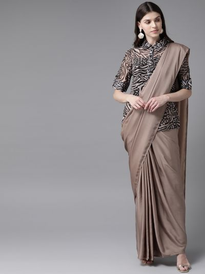 AKS Beige Solid Saree with Stitched Blouse