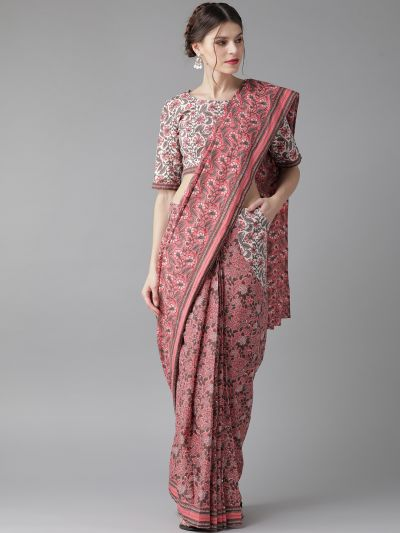 AKS Pink & Charcoal Grey Printed Saree with Stiched Blouse