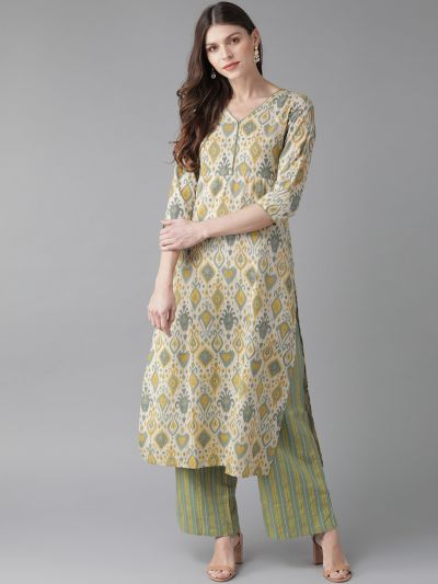 AKS Women Beige & Green Printed Kurta with Palazzos