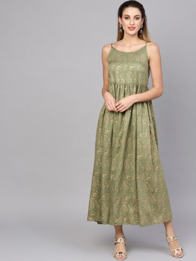 Olive gold printed maxi dress with peplum jacket