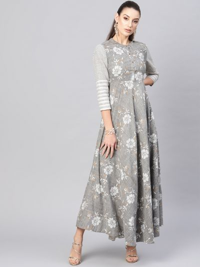 Grey gold printed front buttoned maxi dress