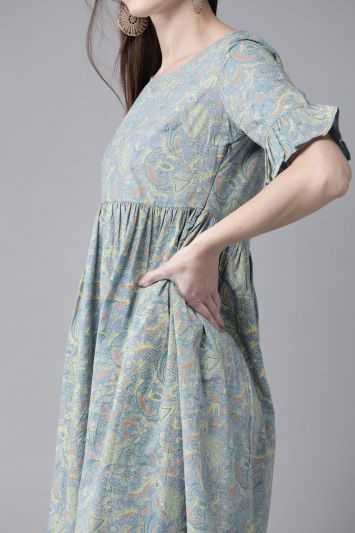 Blue & Yellow Printed A-Line Dress