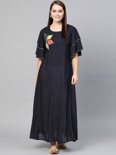 Navy Blue Patch work maxi dress with flared slevees
