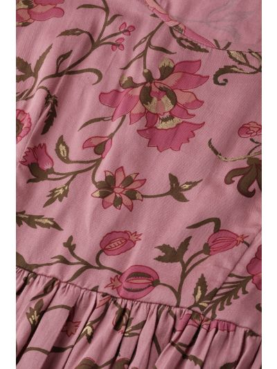 Pink & Olive Green Printed A-Line Dress
