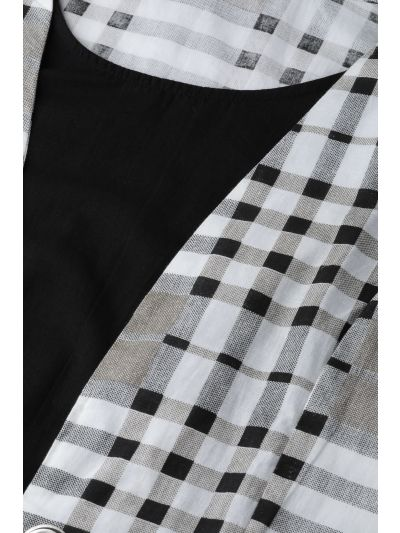 White & Black Checked Layered A-Line Dress