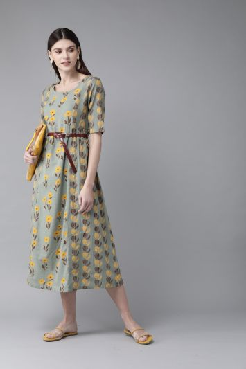 Green & Yellow Printed A-Line Dress