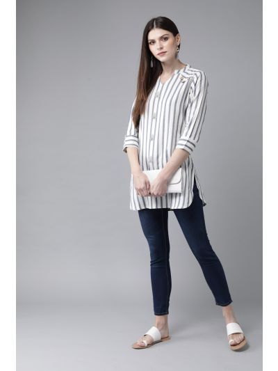 AKS Women's Off-White & Blue Striped Tunic