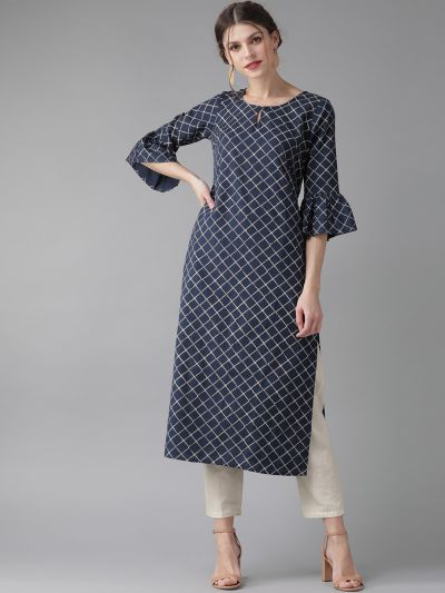 AKS Women Navy Blue & Off-White Checked Straight Kurta
