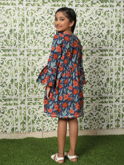 Blue & Red Floral Printed Pleated Dress