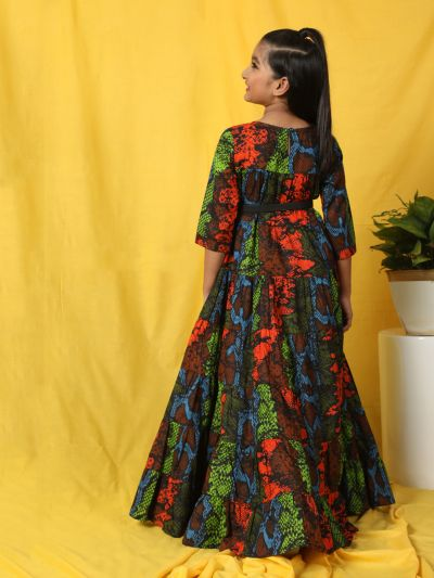 Multicolored Animal Printed Tiered Maxi