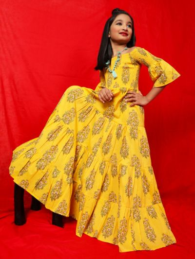 Yellow Floral Printed Tiered Maxi