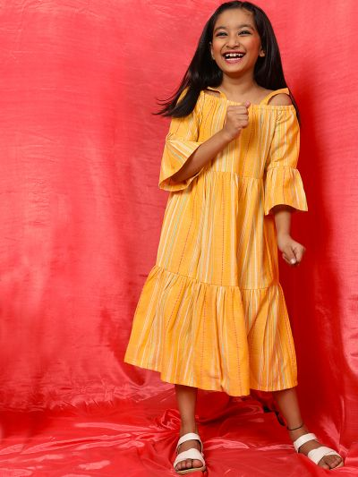 Yellow Striped Design Tiered Dress
