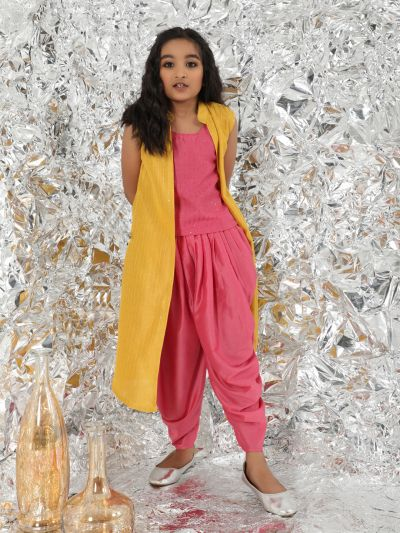 Pink & Yellow Sequnce Work Top & Dhoti Pant With Jacket
