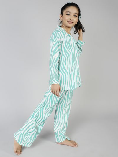 Turquoise Blue Animal Printed Night Suits