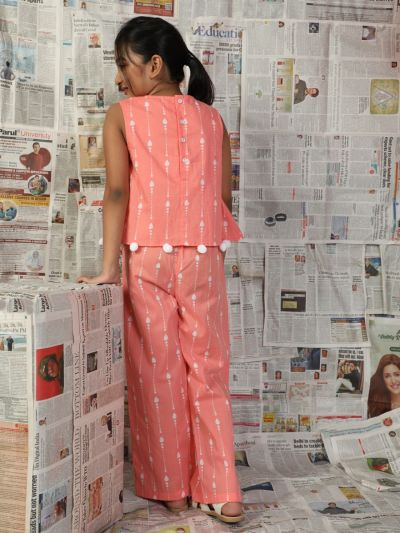 Peach & White Printed Jumpsuit With Pom-Pom Details