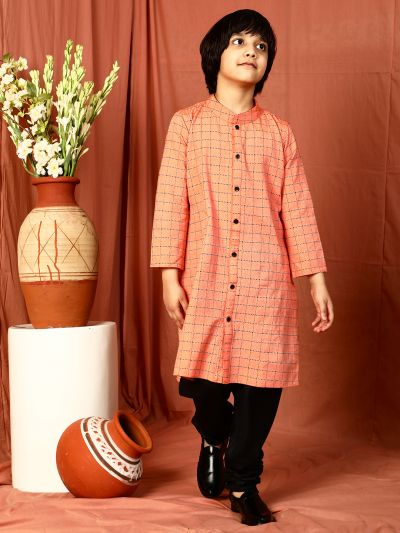 Peach Checked Kurta With Black Solid Pant