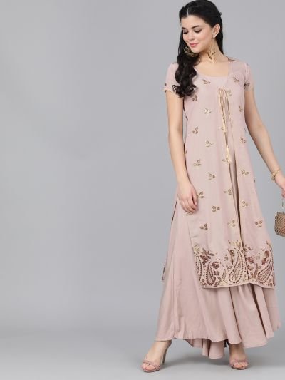 Nude Pink Maxi With Jacket