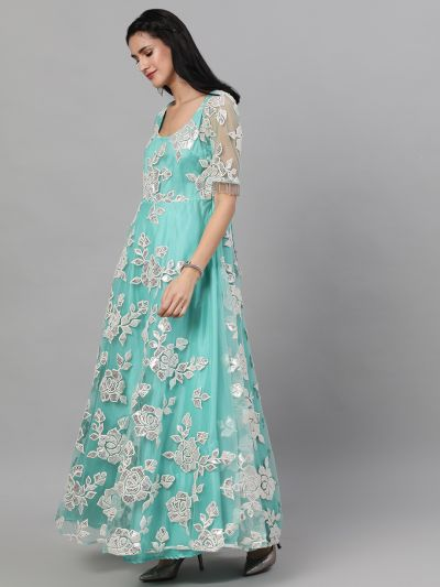 Sea Green Flared Maxi With Applique Work