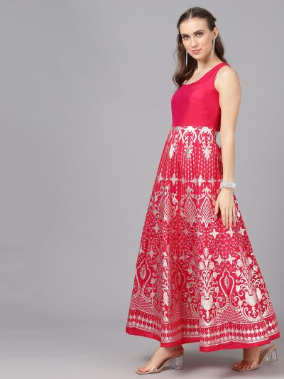 Pink & Silver Printed Flared Maxi