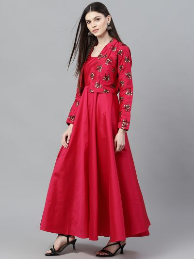 Magenta Solid Flared Maxi With Flock Design Jacket