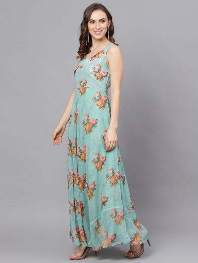 Pastel Green Floral Print With Sequence Work Maxi