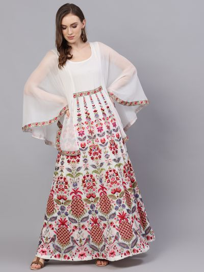 White & Pink Embroidered Maxi With Cape Sleeve