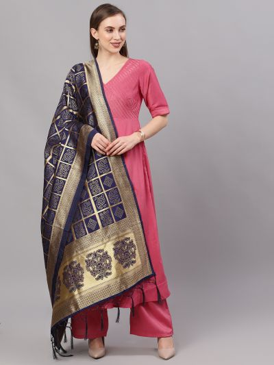 Navy Blue & Gold Zari Work Dupatta