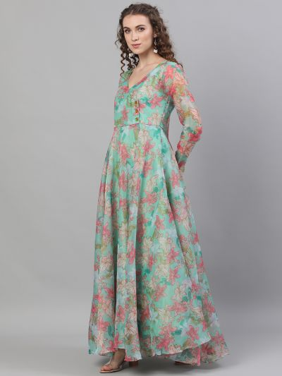 Green & Red Organza Floral Printed Flared Maxi